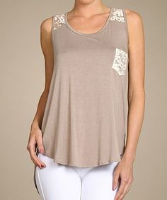 Tan & Cream Lace-Pocket Hi-Low Tank by SELFEE #zulily #zulilyfinds