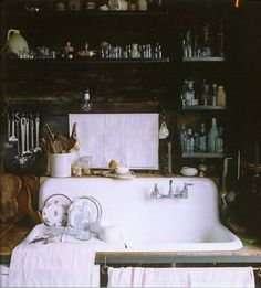 beautiful cluttered sink space