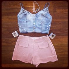 Denim Spike Bustier and Shorts