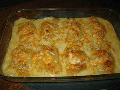 """Crescent Chicken Casserole  1 lb chicken, cooked and chopped ( 2 cups) 1 cup shredded cheddar cheese  (or more) 8 crescent rolls 3/4 cup milk 1 can cream of chicken soup  Combine soup and milk pour into 9 X 13 """" baking dish. mix chicken with 1/2 cup cheese. Put chicken mixture in center of each crescent and roll up the crescent and place onto soup mixture.   Bake at 350 for 25 min or till golden brown - then top crescents with the remaining cheese and bake 5 min or till cheese is melted"""