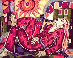 JACQUELINE DITT - Good Vibration ca.30x40 Druck print n.Gemälde Sonne Giclee art