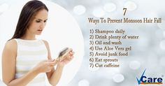 7 Ways To Prevent #Monsoon Hair Fall! For More Visit :http://vcaretrichology.com/
