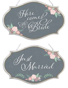 Gems Wedding Supplies - Chalk Style Here Comes the Bride Just Married Two Sided Wedding Decoration Sign, $45.00 (http://www.gemsweddingsupplies.com.au/chalk-style-here-comes-the-bride-just-married-two-sided-wedding-decoration-sign/)