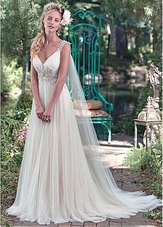 27 best of romantic wedding dresses by maggie sottero romantic elegant tulle v neck neckline a line wedding dresses with embroidery junglespirit Choice Image