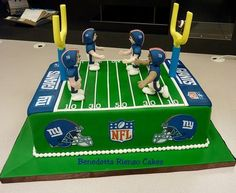 NY Giants Football Field Cake. Go Big Blue! - by AdventuresInCaking @ CakesDecor.com - cake decorating website