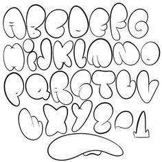Bubble Alphabet, Bubble Letter Fonts, Tag Alphabet, Alphabet Stencils, Alphabet Design, Graffiti Lettering Alphabet, Graffiti Writing, Graffiti Wall, Bullet Journal Ideas Handwriting