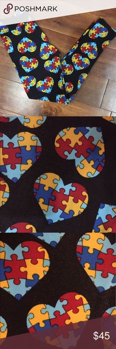 LuLaRoe Autism Awareness Heart leggings. Tween Large hearts filled with multicolor puzzle pieces on a heathered black background. The black background also features hidden puzzle pieces, very hard to picture but the last picture shows the leg inside out so you can get an idea of what I'm talking about. Second to last picture shows a small pull maybe? It seems to be a factory defect which isn't very noticeable. New w/tags, only tried on but unfortunately too small for my daughter. Tween sized…