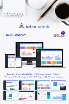 Buy Aries Admin - Responsive Bootstrap 4 Dashboard Template by themeswdma on ThemeForest. Aries Admin is a Premium Admin Dashboard template with a modern design concept. A fully responsive admin dashboard t. Dashboard Bootstrap, Dashboard Template, Web Technology, Admin Panel, Ui Kit, Web Application, Business Website, Ui Design, Light In The Dark