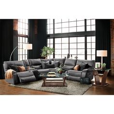 Orlando 6 Piece Power Reclining Sectional With 1 Stationary Chair   Gray.  Modern Appeal.