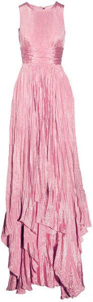 Oscar De LA Renta Pleated Washedsatin Gown