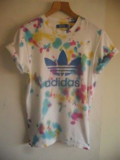 vintage acid wash tie dye Adidas Originals trefoil unique unisex festival tshirt
