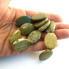 Beads Khaki Green Jasper 25x18mm by CinLynnBeads on Etsy, $5.00