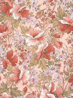 植物イラスト 赤い花柄でピンクの背景のパターン