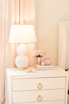 Bedroom Decor Ideas: A Romantic Master Bedroom Makeover - The Pink Dream - master bedroom makeover, white tufted bed, white and gold lamps, white with brass nightstand - Dream Master Bedroom, Romantic Master Bedroom, Stylish Bedroom, Master Suite, White Tufted Headboards, White Tufted Bed, Tufted Bench, Blush Bedroom Decor, Farmhouse Bedroom Decor