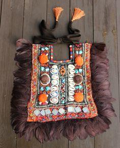 Bib necklace Kanchali brown turquoise orange. by dosTeresas