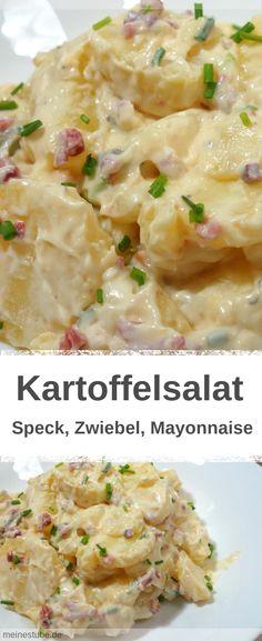 Rezept für einen Kartoffelsalat mit Speck und Mayonnaise. Auch ohne Mayo lecker. #Kartoffelsalat #Salat #Rezepte