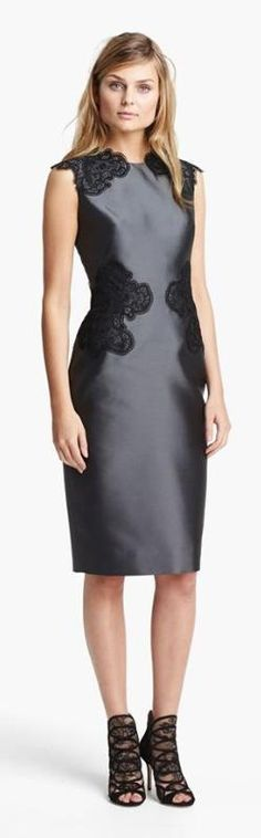 Love the flattering lace details of this Lela Rose sheath dress.