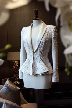 Chic tailored white wool gabardine Haute Couture suit, embellished with intricate white crystal hand embroidery