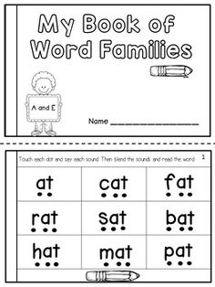 This product contains two student booklets that will ask the students to sound and blend word family words in order to develop phonological awareness and word recognition. The first booklet contains the A and E word families. The second booklet contains t Phonics Worksheets, Phonics Activities, Kindergarten Worksheets, Reading Activities, Playgroup Activities, Kindergarten Assessment, Alphabet Phonics, Printable Alphabet, Teaching Phonics
