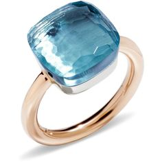 Pomellato Nudo Blue Topaz Maxi Ring ($2,925) ❤ liked on Polyvore featuring jewelry, rings, sparkling jewellery, pomellato jewelry, pomellato ring, pomellato and sparkly rings