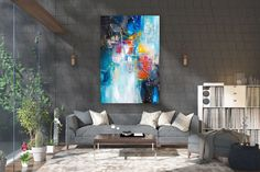 Large Abstract Painting,Modern abstract painting,original abstract,bathroom wall art,painting for home,acrylic textured FY0091