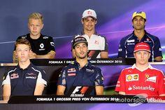 FIA press conference: Daniil Kvyat, Scuderia Toro Rosso, Daniel Ricciardo, Red Bull Racing, Kimi Raikkonen, Scuderia Ferrari, Kevin Magnussen, Renault Sport F1 Team, Esteban Gutierrez, Haas F1 Team and Felipe Nasr, Sauber F1 Team