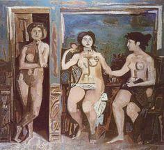 'Funeral Composition' by Greek artist Yiannis Moralis source: WikiArt. via the National Gallery, Greece Sculpture Art, Sculptures, Modern Art, Contemporary Art, National Gallery, Composition Art, Art Antique, Ecole Art, Greek Art