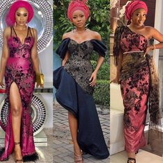 Our beautiful inspired stylish dresses Swipe to the left ▶️▶️▶️ Kind. Aso Ebi Lace Styles, African Lace Styles, African Lace Dresses, Latest African Fashion Dresses, African Print Fashion, African Clothes, African Style, Ankara Styles, Nigerian Dress Styles