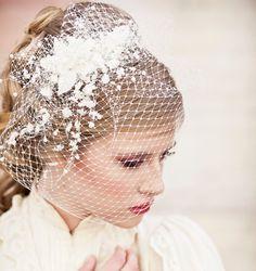 Birdcage Veil with Vintage Flower Spray Modern Veil Wedding Headpiece, Veil, Wedding Hair, Birdcage Bridal Veil, Floral Headpiece