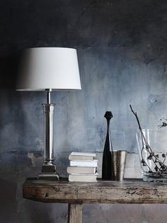 """Neptune Imperial Column Lamp & Lucile 15"""" Silver Grey Shade"""