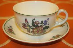 Villeroy Boch Alt Strassburg Flat Coffee Cups Saucers No 5 Green Trim Set of 5  | eBay