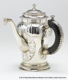 chocolate pot, 1707/08, England, silver, wood.  Royal Albert Memorial Museum & Art Gallery, Exeter