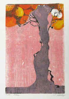 Wolfgang Schlick - Baum. Farbholzschnitt 1965. Holzschnitt vom Künstler nummeriert und signiert.