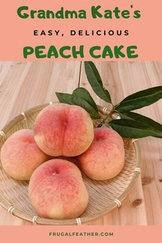 Canned peaches + cake mix = Easy Peach Cake. Perfect for spring or summer dessert! Cheap Dessert Recipes, Fun Desserts, Dessert Ideas, Cake Ideas, Peach Cake Recipes, Sweet Recipes, Frugal Meals, Frugal Recipes, Canned Peaches