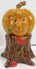 Vintage HUMAN FACE PUMPKIN Thanksgiving DEPARTMENT 56 Salt & Pepper Shakers Set