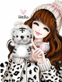 My Dream World: Enakei Girl Korean Anime, Korean Art, Cute Korean, Korean Illustration, Cute Illustration, Gif Animé, Animated Gif, Girly M, Lovely Girl Image
