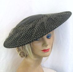 1950s Vintage Black Straw Hat Wide Brim White Swiss Dot Tulle Net 50s Mid Century Platter Picture Hat Day to Cocktail Wear by JuneeMoonVintage on Etsy https://www.etsy.com/listing/242567897/1950s-vintage-black-straw-hat-wide-brim