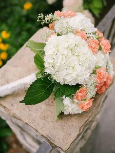 White hydrangea wedding Bouquet with Peach Carnation by jeannette Carnation Bridal Bouquet, Hydrangea Bouquet Wedding, Peach Bouquet, Wedding Flower Arrangements, Bride Bouquets, Flower Bouquets, Babysbreath Bouquet, Hydrangea Corsage, Bridal Bouquet White