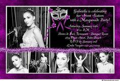 Sweet Sixteen Masquerade Card - Purple & Black Mysterious Invitation