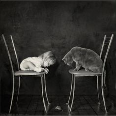 Russian photographer Andy Prokh created a series of back and white child photography – Little Girl and Tomcat. What a happy childhood!