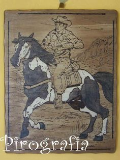 Quadro Cowboy di PirografiaHobby su Etsy