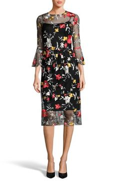 Free shipping and returns on ECI Embroidered Bell Sleeve Dress at Nordstrom.com. Lavish embroidery pops against the airy black background of this delightfully alluring frock finished with flouncy bell cuffs.