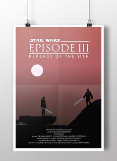 Episode III: Revenge of the Sith minimalist poster by Joe Elam  #starwars #illustration #mustafar #episode3 #episodeiii #fanart #revengeofthesith #vector #graphicdesign #digitalillustration