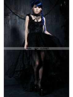46106923218  113.05 Punk Rave Black Lace Gothic Queen Style High-Low Dress Gothic Dress