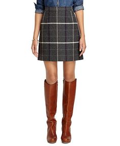 Plaid herringbone skirt from Brooks Brothers <-- Love the idea of this for fall with boots and chambray or denim