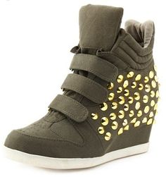 93c80360094 Lace-Up Hi-Top Wedge Sneaker  Charlotte Russe Studded Sneakers