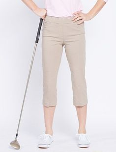 "Unique, Pretty Colors are the highlight of the SlimSation Ladies  golf collection just like this Stone SlimSation Ladies 21"" Inseam Pull On Golf Capri!"