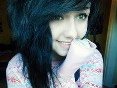 blue scene hair my hair is darker but like this but also still has brown in it c: