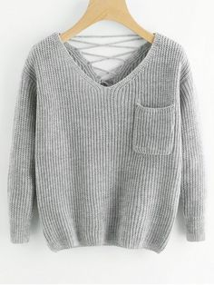 Up to 70% OFF!   V Neck Lace Up Back Pullover Sweater. #Zaful #tops #outfits #sweaters #pearlsweaters #cardigans #chokersweater #fashion #style #chunkysweater #oversizedsweaters #knitsweater #knitwear #sweateroutfits #cardigan #cardiganoutfit #turtleneck #cashmeresweater #cashmere #womenfashion #winteroutfits #winterfashion #falloutfits #fallfashion #halloweencostumes #halloween #halloweenoutfits #christmas #thanksgiving #gift #christmascostumes @zaful Extra 10% OFF Code:ZF2017