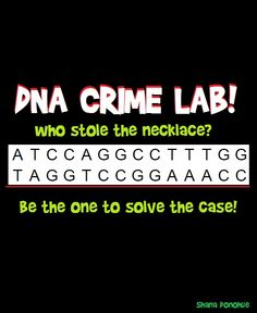 """Your students will enjoy figuring out who stole the necklace as they """"sequence"""" their DNA. Email for a free copy! All I ask in return is an honest review."""
